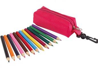 12 db-os színes ceruza készlet cipzáras tokban, karabinerrel