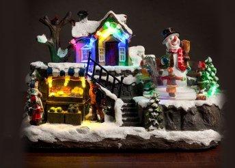Karácsonyi táj fényekkel és mozgó részletekkel