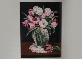 Tavaszi tulipános akrilfestés farostra