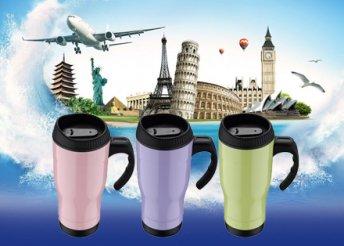 Utazóbögre, 450 ml, több színben, cseppálló fedél, melegen vagy hidegen tarthatod az italt, könnyű tisztítás
